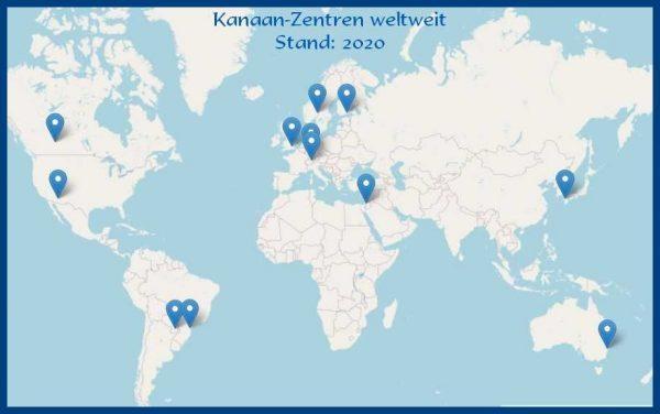 Weltkarte mit Kanaan-Zentren